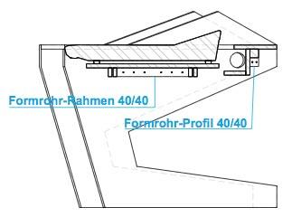 DUODESK 60 console Querschnitt. Große und schwere Pulte werden mit einem Stahlrahmenunterbau gestützt