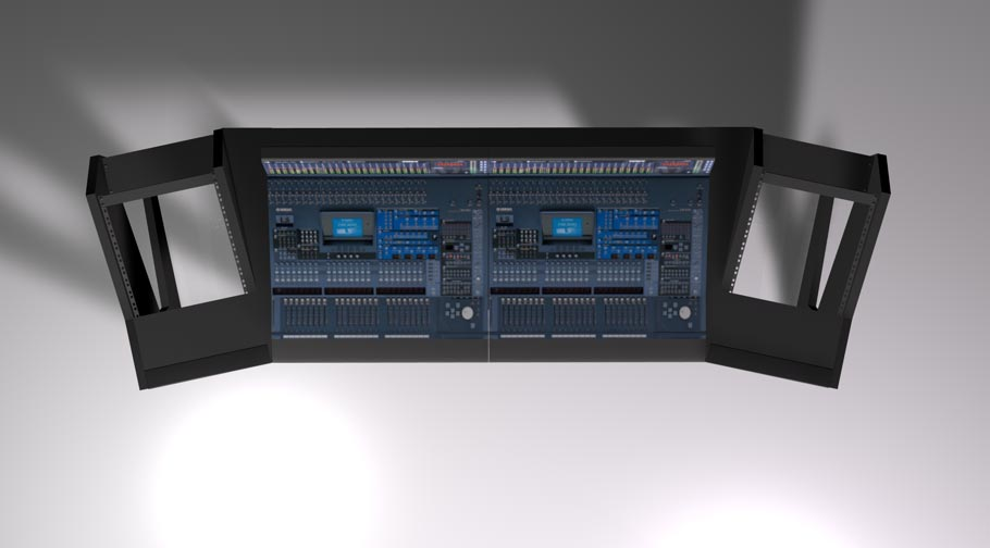 UNTERLASS DUODESK 60 console mit integrierter Yamaha DM2000 Konsole